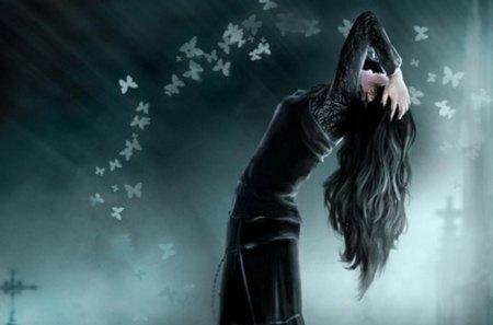 Dark Gothic - butterfly, dark, gothic, girl