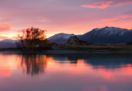 Tekapo Dawn - pink sunrise, shore, house, riverbank, sunset, cabin, clouds, mirrored, sundown, nice, splendor, beauty, sunrise, reflection, lovely, dawn, houses, sky, trees, new zealand, water, purple, mountains, landscape, red, colorful, cottage, beautiful, river, pink, lakehore, lakes, view, lake tekapo, colors, tekapo, lake, peaceful, summer, island, nature
