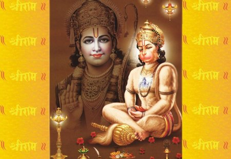 Shri ram and lord hanuman - hanuman, ram, devotional, spiritual