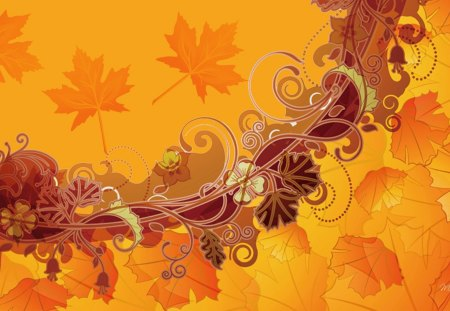 Fall Abstraction - fall, flowers, swirls, gold, maple, autumn, orange, leaves, abstract