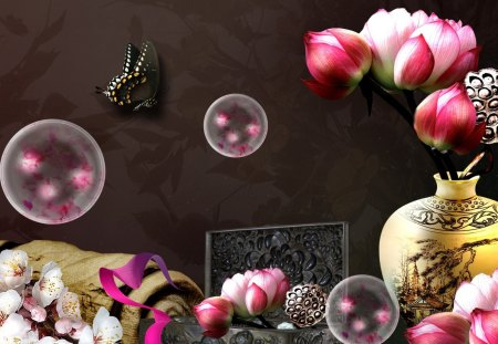 Oriental Elegance - japanese, sakura, pappilon, flowers, butterfly, chinese, oriental, bamboo, vase, peonies, fleurs, cherry blossoms, bubbles, box
