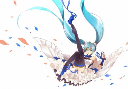 Hatsune Miku - nvel, hatsune miku, headphones, jpn, persona, anime, tears, jump, singing synthesizer application, vocaloid, female, music, manga, miku, smile, miku append, twintails, aqua eyes, girl, vocaloidmblue, aqua hair