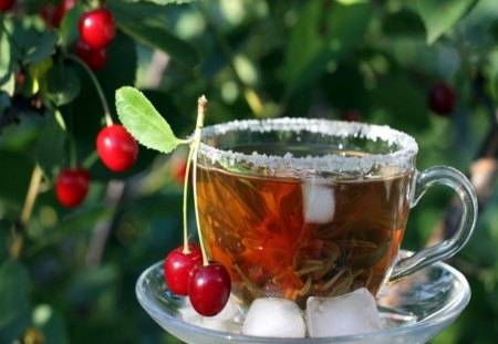 GARDEN TEA - cherries, cup, ice, fruit, still life, tree, tea