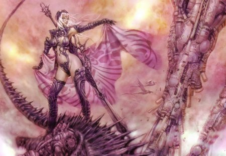 Lady In Pink - machine, woman, birds, sword, warrior