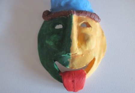 Colorful clay mask - brown, blue, green, mask, red, yellow
