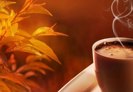 Hot Chocolate On An Autumn Day~Perfect! - still life, cup, steam, leaves, hot chocolate, Fall, autumn