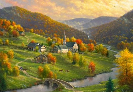 peace in the valley - beauty, autumn, grass, valley, horses, a stone bridge, mountain, cottages