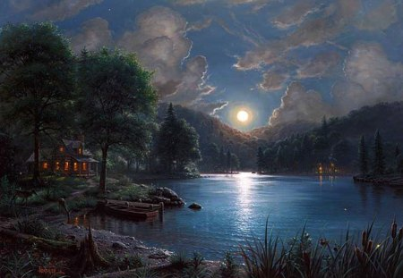 Moonlight Sonata - clouds, sky, painting, moon, landscape