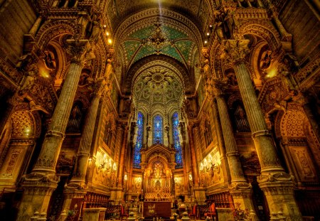 The Basilique Notre Dame de Fourvre - Interior - pretty, lyon, regal, interior, beautiful, church, elegant, basilique, dame, france, notre, de, fourvre, catholic