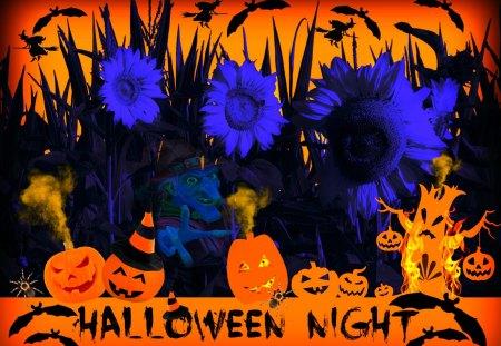 ♥     ♦♣♠ Halloween Night ♠♣♦     ♥ - fire, halloween, scary, halloween night, tree, pumpkins, smoke, haunted, witches, jack-o-lantern, bats, sunflowers