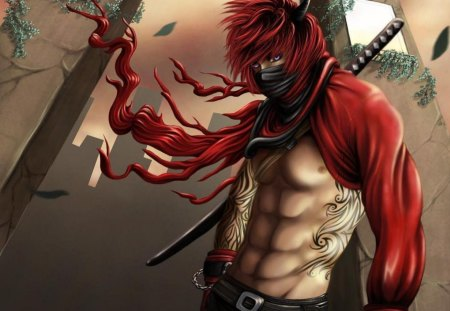 Devil's Assassin - male, tattoo, red hair, horns, lone, katana, weapon, blue eyes, mask, sword