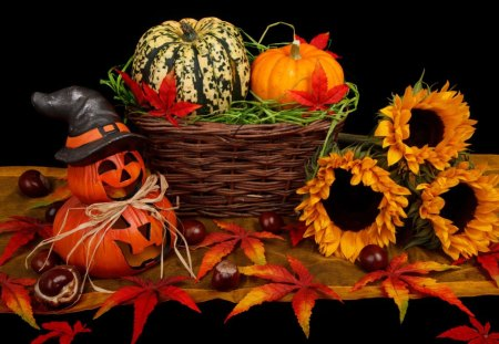 HALLOWEEN DECORATION - flowers, orange, pumpkin, holiday, halloween, decoration