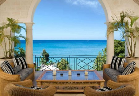 Barbados - house, tables, barbados, ocean, terrace, candles, beach, couch, chairs
