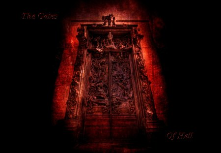 The Gates Of Hell - halloween, of, evil, hell, rhodin, sculpture, thinker, creep, gates, scary