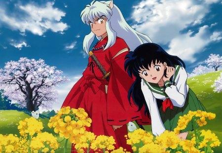 Inuyasha And Kagome Nature Inuyasha Anime Background