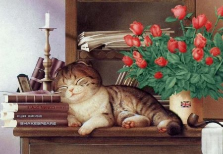 TO BE OR NOT TO BE ZZZ ZZZ ZZZ - candle, sleep, books, flowers, nap, vace, cat, pipe