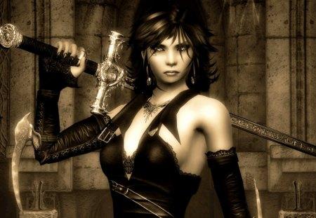 Vampire Girl - cg, girl, vampire, dark, sword