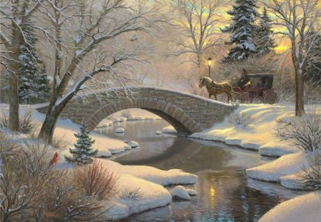 winter landscape - snow, nature, beautiful, a stone bridge, winter, landscape