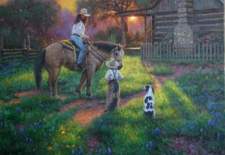 mothers work is never done - mother, child, idyllic scene, morning, horse, dog
