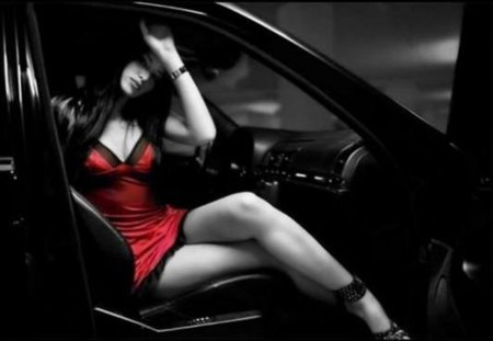 red and black - red, model, posture, car, black
