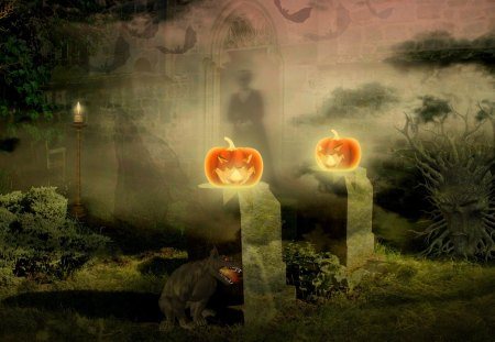 ♥     Haunted Place     ♥ - candles, night, moon, monster, haunted, creepy, bats, jack-o-lantern, darkness, spooky, halloween
