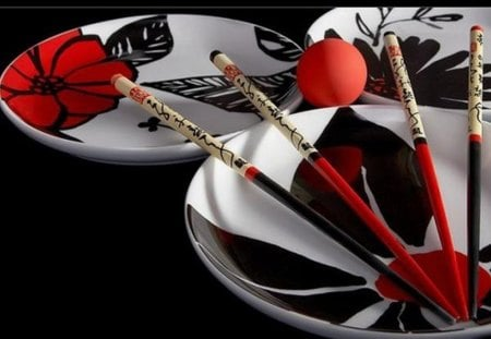 still life in black and red - plates, white, still life, wooden chopsticks, black, red