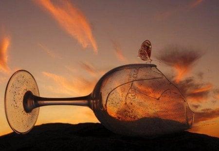 glass of patience - sunset, clouds, sky, glass, broken