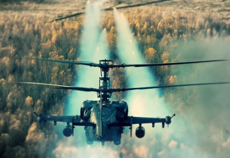 ka-52 - rocket, russia, helicopter, shoot, heli