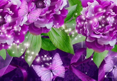 Purple Pink Destination - fleurs, glow, twinkle, lustre, shine, flash, winkle, lights, sparkle, glint, butterfly, scintillate, shimmer, papillon, flowers, pink, glisten, radiate, flare, glitter, ribbon, spangle, glister, glimmer, purple, summer, luster, wink, gleam, shiny