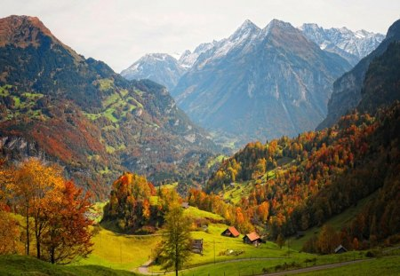 Beautiful landscape - colorful, fall, view, high, houses, beautiful, trees, valley, splendor, mountains, season