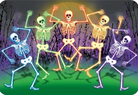 DANCING BONES - purple, green, skeletons, bones, dancing, blue