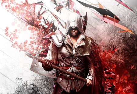 assassin's creed - hd red white, assassins creed, 1080p, weapin, assasssins creed 2, ezio, assassin