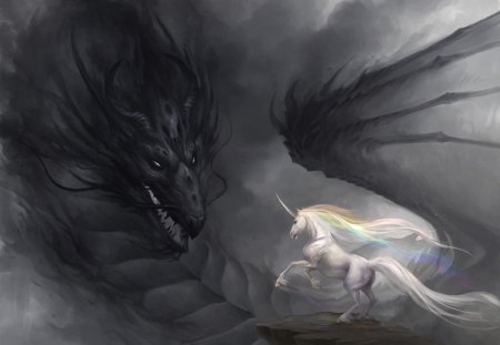 Light VS Darkness - dragon, unicorn, light, dark