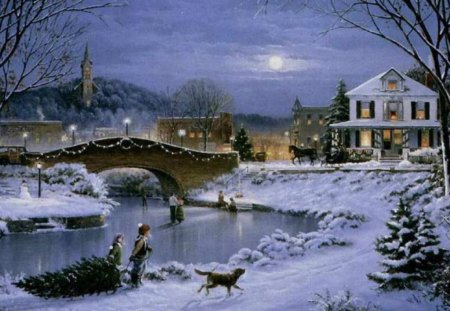 A Winter's Night - lake, town, skater, dog, winter, lights, moon, christmas lights, full moon, pines, night, church, buggie, horse, children, sky, bridge, cold, trees, skaters, frozen, arched, snow, river, ice, buildings, house, art, crisp, church steeple