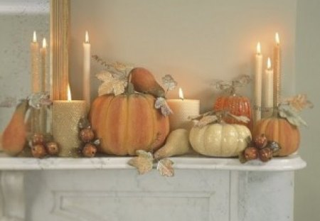 Elegant Fall Mantle - interior, fireplace, fall mantle, house