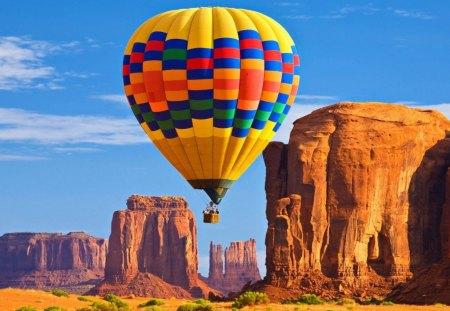 Hot air balloon - aircraft, canyons, air, hot, ballon