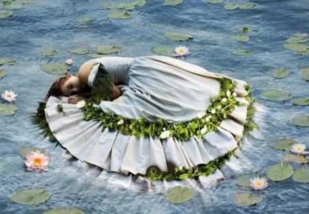 A LOVELY FLOWER IN THE POND - pond, flower, lovely, woman