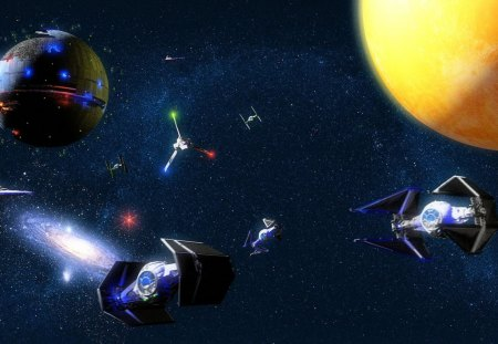 star wars - death star, stars, shuttle tydirium, planet, galaxy, tie fighters, star destroyers
