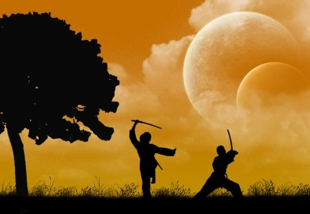 Sunset Spar - pulze, grass, orange, ninjas, kiwi, yellow, sunset, clouds, moon, ninja, black, zealand, silhouette, tree, spar, planet, new, white