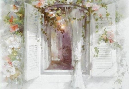 LOVELY WINDOW - window, white, rose, curtains