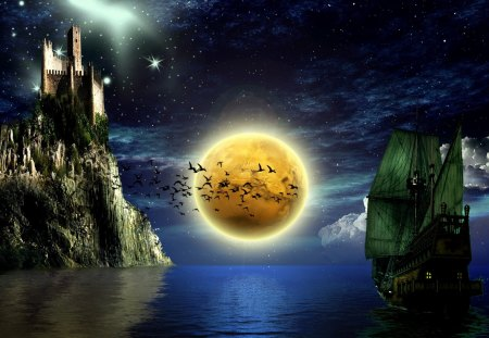 fantasy art - cliffs, stars, castle, clouds, moon, ship, sea
