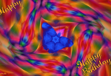 Happy, Happy, Birthday! :D - happy birthday, 1ive it up, butterflies, flutterby, birthday, happy, butterfly, fractal, celebrate