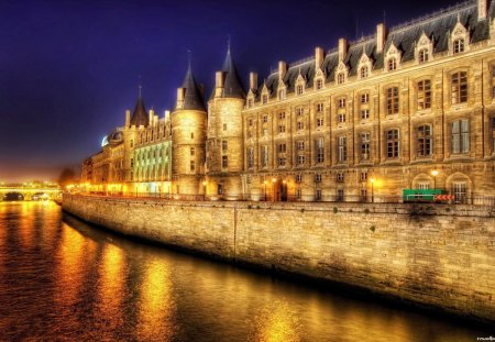 marvelous building on a paris river at night hdr - bridge, lights, hdr, river, building