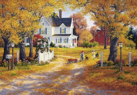 KIDS ARE PLAYING OUTSIDE - autumn, leaves, victorian house, kids