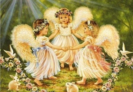 DANCE WITH THE ANGELS - little girl, garden, danse, angels