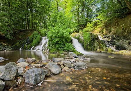Stunning Waterfalls - rocks, creeks, nature, forests, streams, waterfalls