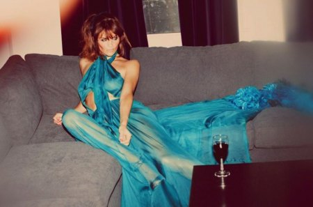 Helena Christensen - lady in blue - sensual, pretty, chic, helena christensen, green eyes, nice, famous, beauty, face, star, celebrity, lovely, gown, sexy, lips, classy, body, waiting, trendy, eyes, fashion, elagant, dress, beautiful, woman, elegant, photography, blue dress, supermodel, figure, blue, long dess, tempting, 90s, brunette, vine, femininity, lady