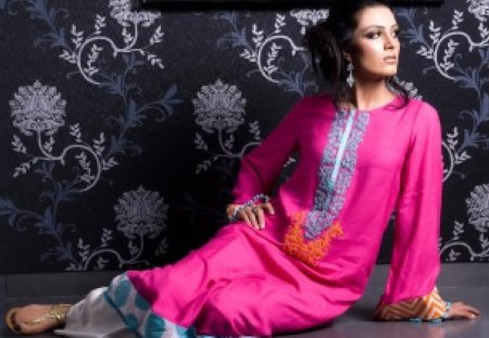 Pakistan Home Look - electric pink, dress, orange, pakistan, entertainment, beautiful, fashion, young girl
