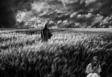No where to hide - fantasy, hide, reaper, girl, gothic, sky, field