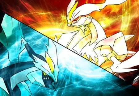 Black & White Kyurem - black, pokemon, white, 2
